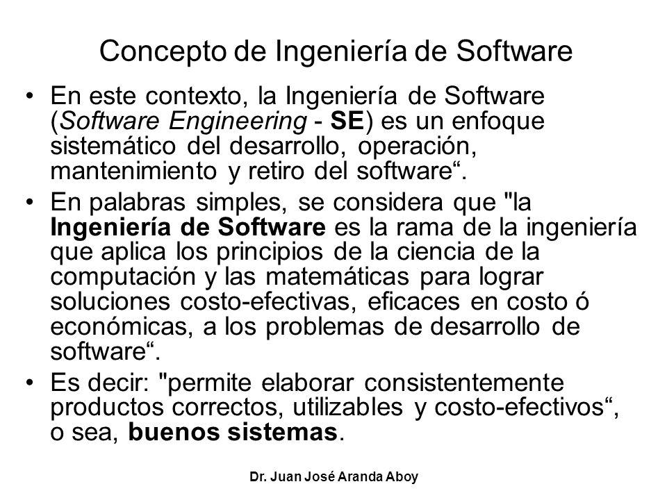 Dr. Juan José Aranda Aboy Concepto de Ingeniería de Software En este contexto, la Ingeniería de Software (Software Engineering - SE) es un enfoque sis