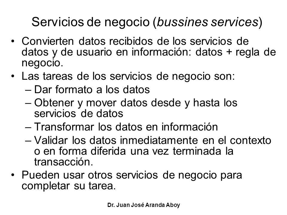 Dr. Juan José Aranda Aboy Servicios de negocio (bussines services) Convierten datos recibidos de los servicios de datos y de usuario en información: d