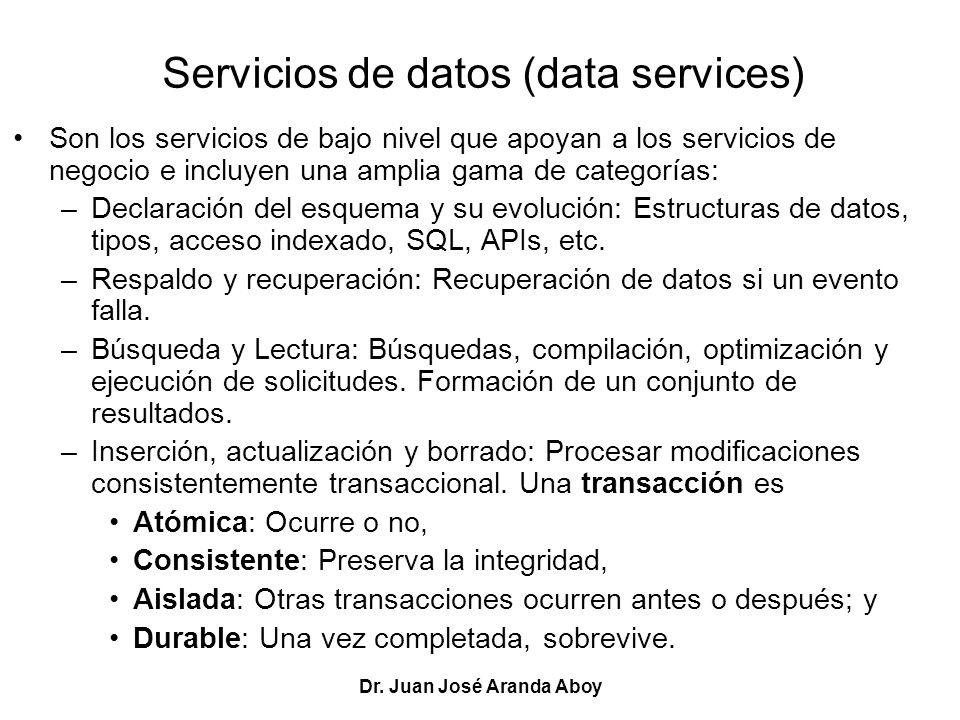 Dr. Juan José Aranda Aboy Servicios de datos (data services) Son los servicios de bajo nivel que apoyan a los servicios de negocio e incluyen una ampl