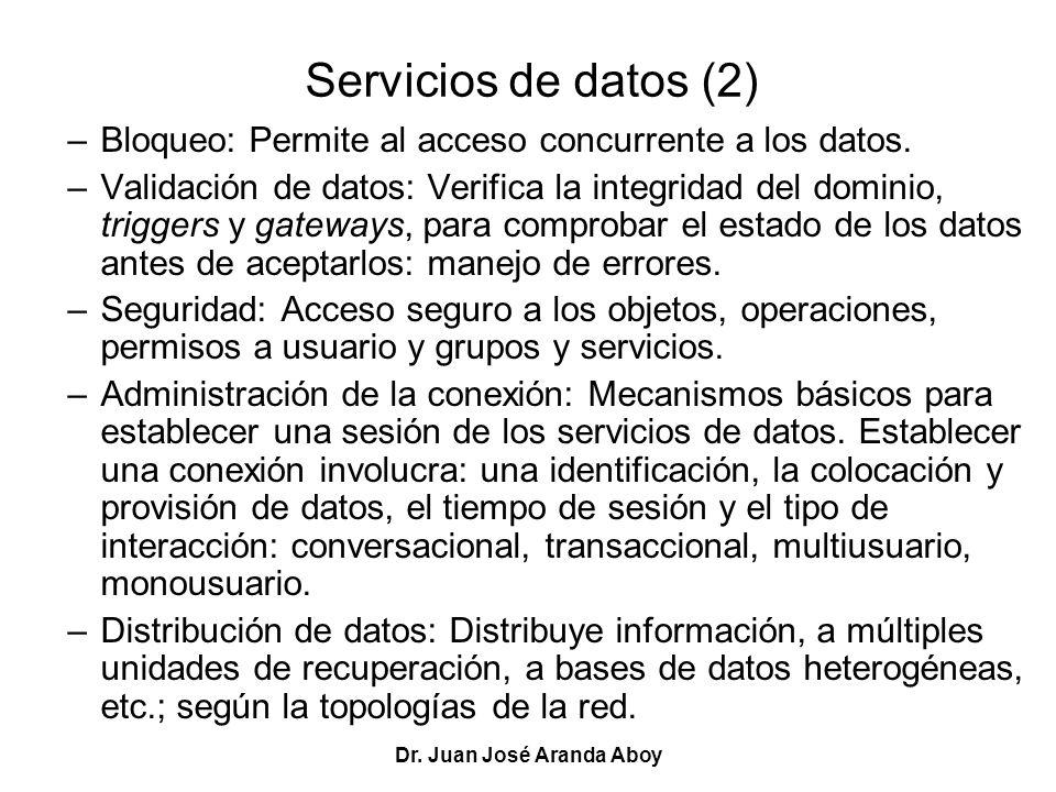 Dr. Juan José Aranda Aboy Servicios de datos (2) –Bloqueo: Permite al acceso concurrente a los datos. –Validación de datos: Verifica la integridad del
