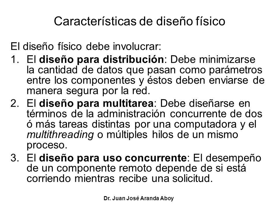 Dr. Juan José Aranda Aboy Características de diseño físico El diseño físico debe involucrar: 1.El diseño para distribución: Debe minimizarse la cantid