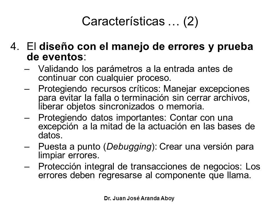 Dr. Juan José Aranda Aboy Características … (2) 4.El diseño con el manejo de errores y prueba de eventos: –Validando los parámetros a la entrada antes