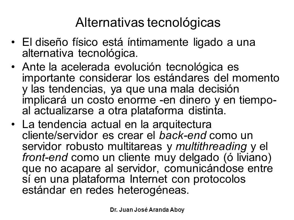 Dr. Juan José Aranda Aboy Alternativas tecnológicas El diseño físico está íntimamente ligado a una alternativa tecnológica. Ante la acelerada evolució