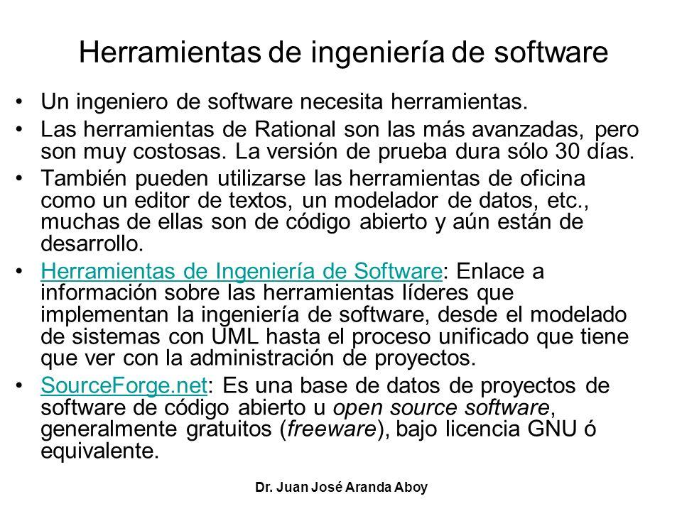 Dr. Juan José Aranda Aboy Herramientas de ingeniería de software Un ingeniero de software necesita herramientas. Las herramientas de Rational son las