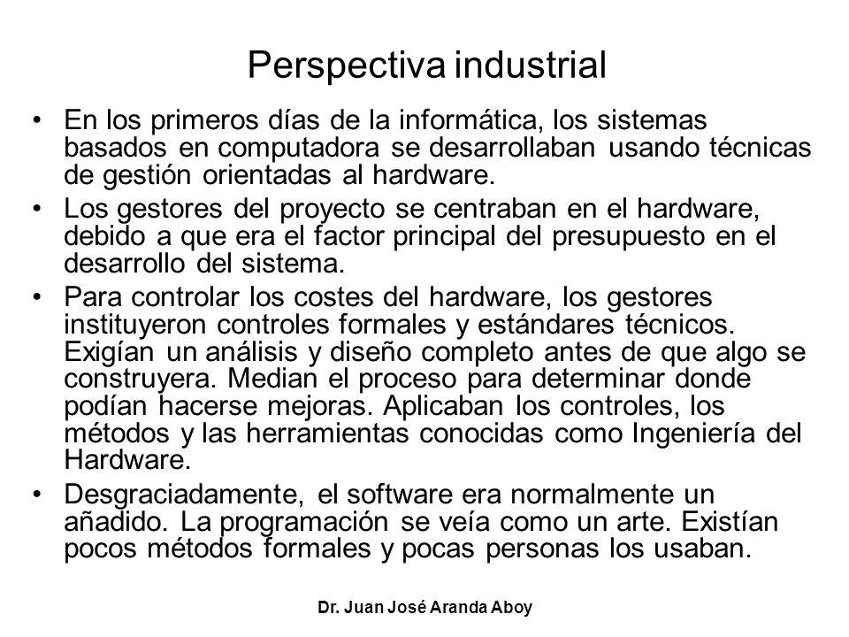 Dr. Juan José Aranda Aboy Perspectiva industrial En los primeros días de la informática, los sistemas basados en computadora se desarrollaban usando t