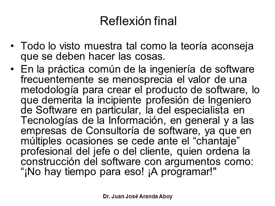 Dr. Juan José Aranda Aboy Reflexión final Todo lo visto muestra tal como la teoría aconseja que se deben hacer las cosas. En la práctica común de la i