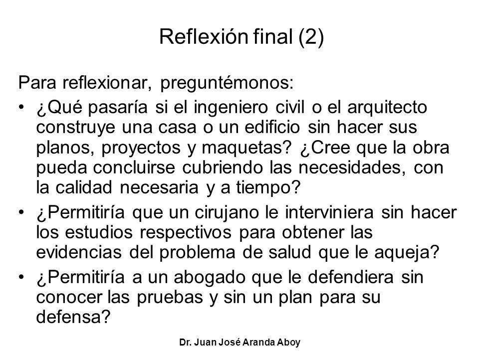 Dr. Juan José Aranda Aboy Reflexión final (2) Para reflexionar, preguntémonos: ¿Qué pasaría si el ingeniero civil o el arquitecto construye una casa o