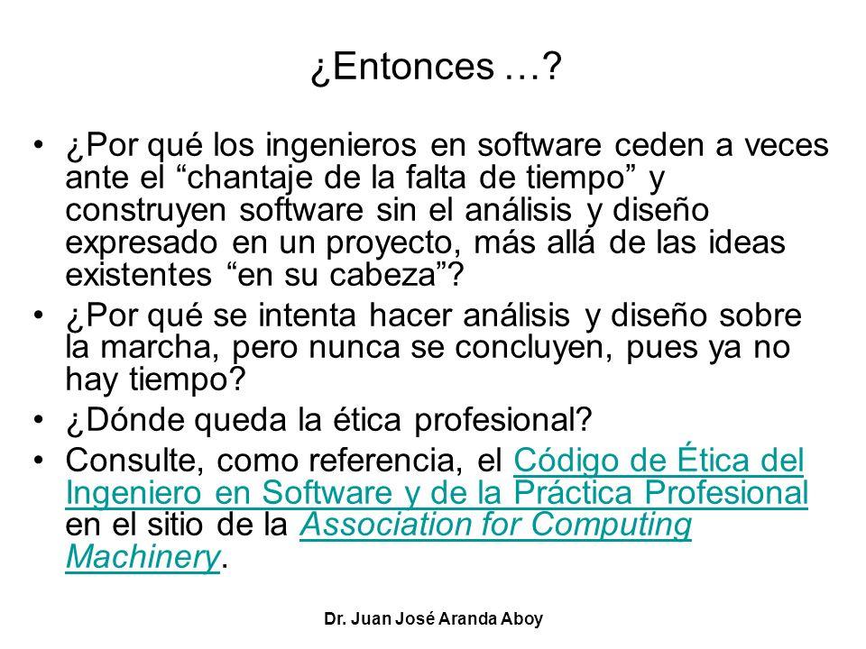 Dr. Juan José Aranda Aboy ¿Entonces …? ¿Por qué los ingenieros en software ceden a veces ante el chantaje de la falta de tiempo y construyen software
