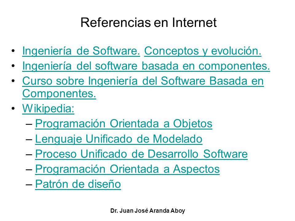 Dr. Juan José Aranda Aboy Referencias en Internet Ingeniería de Software. Conceptos y evolución.Ingeniería de Software.Conceptos y evolución. Ingenier