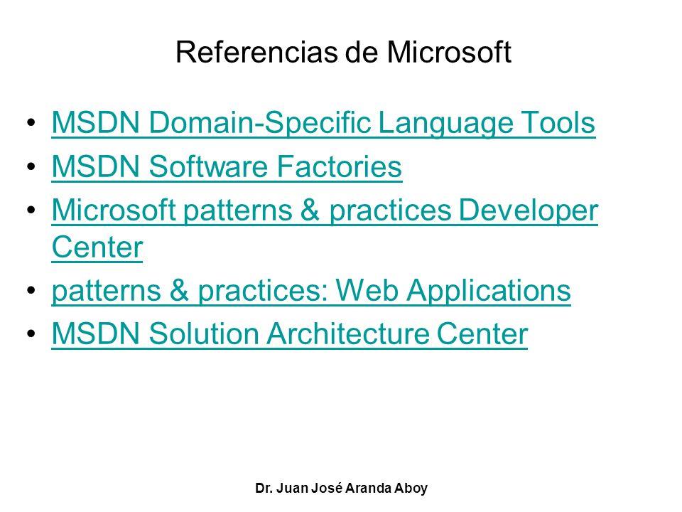 Dr. Juan José Aranda Aboy Referencias de Microsoft MSDN Domain-Specific Language ToolsMSDN Domain-Specific Language Tools MSDN Software FactoriesMSDN