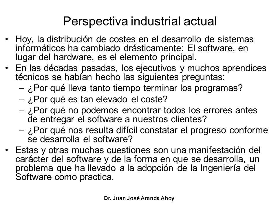 Dr. Juan José Aranda Aboy Perspectiva industrial actual Hoy, la distribución de costes en el desarrollo de sistemas informáticos ha cambiado drásticam