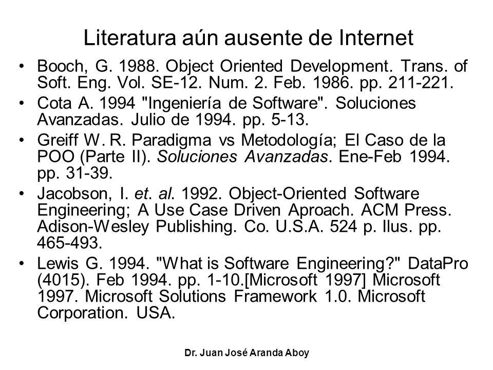 Dr. Juan José Aranda Aboy Literatura aún ausente de Internet Booch, G. 1988. Object Oriented Development. Trans. of Soft. Eng. Vol. SE-12. Num. 2. Feb