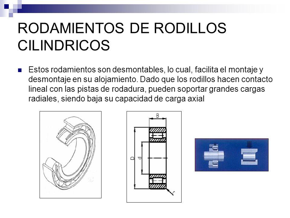 RODAMIENTOS DE RODILLOS CILINDRICOS Estos rodamientos son desmontables, lo cual, facilita el montaje y desmontaje en su alojamiento. Dado que los rodi