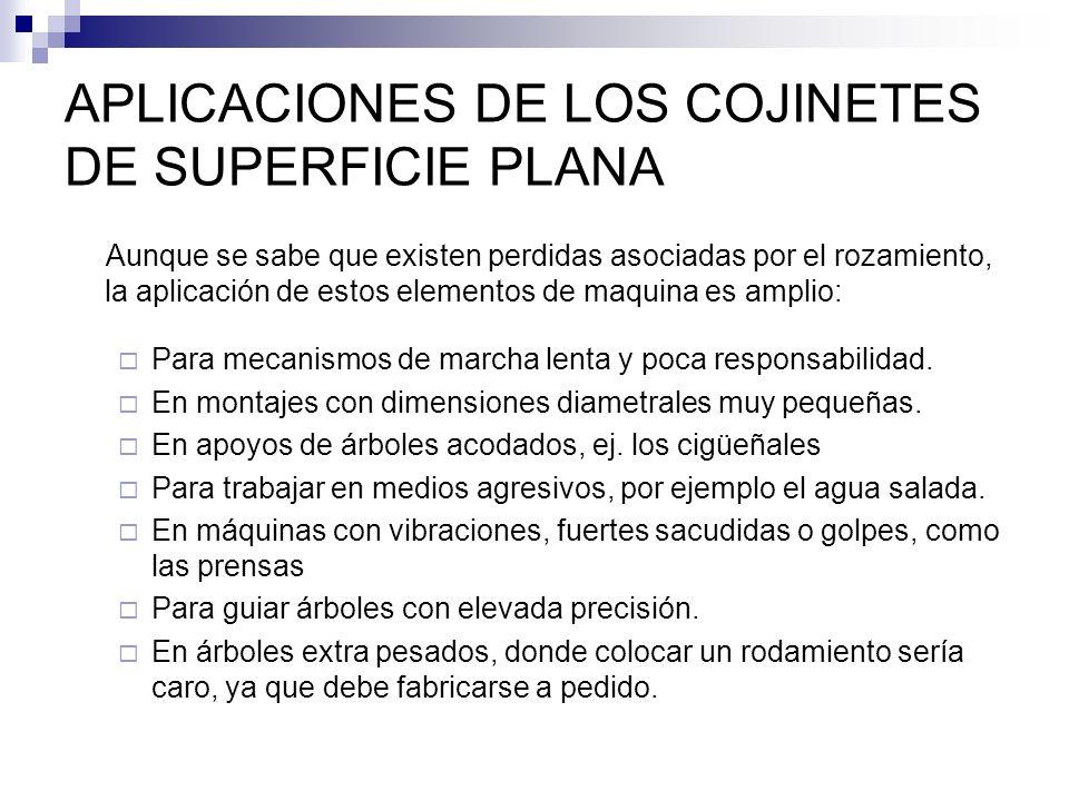 APLICACIONES DE LOS COJINETES DE SUPERFICIE PLANA Aunque se sabe que existen perdidas asociadas por el rozamiento, la aplicación de estos elementos de