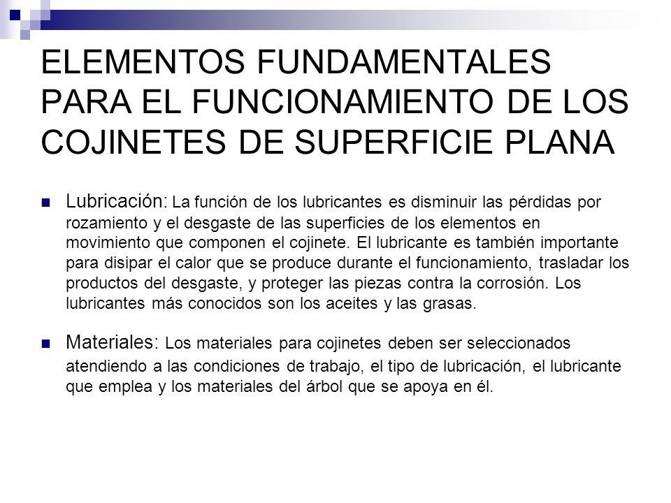 ELEMENTOS FUNDAMENTALES PARA EL FUNCIONAMIENTO DE LOS COJINETES DE SUPERFICIE PLANA Lubricación: La función de los lubricantes es disminuir las pérdid