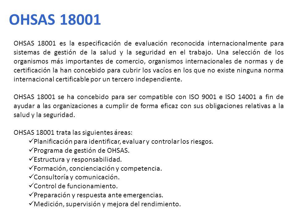 OHSAS 18001 es la especificación de evaluación reconocida internacionalmente para sistemas de gestión de la salud y la seguridad en el trabajo. Una se