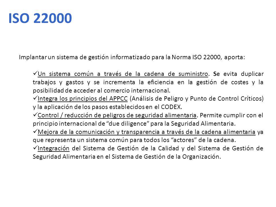 Implantar un sistema de gestión informatizado para la Norma ISO 22000, aporta: Un sistema común a través de la cadena de suministro. Se evita duplicar