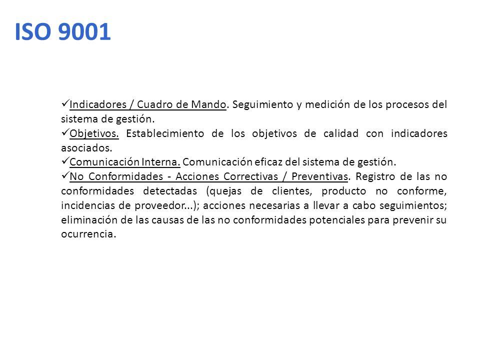 ISO 9001 Indicadores / Cuadro de Mando. Seguimiento y medición de los procesos del sistema de gestión. Objetivos. Establecimiento de los objetivos de