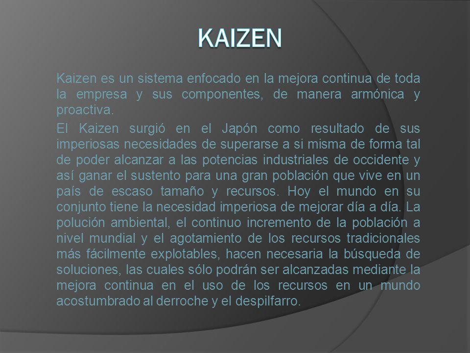 Kaizen es un sistema enfocado en la mejora continua de toda la empresa y sus componentes, de manera armónica y proactiva. El Kaizen surgió en el Japón