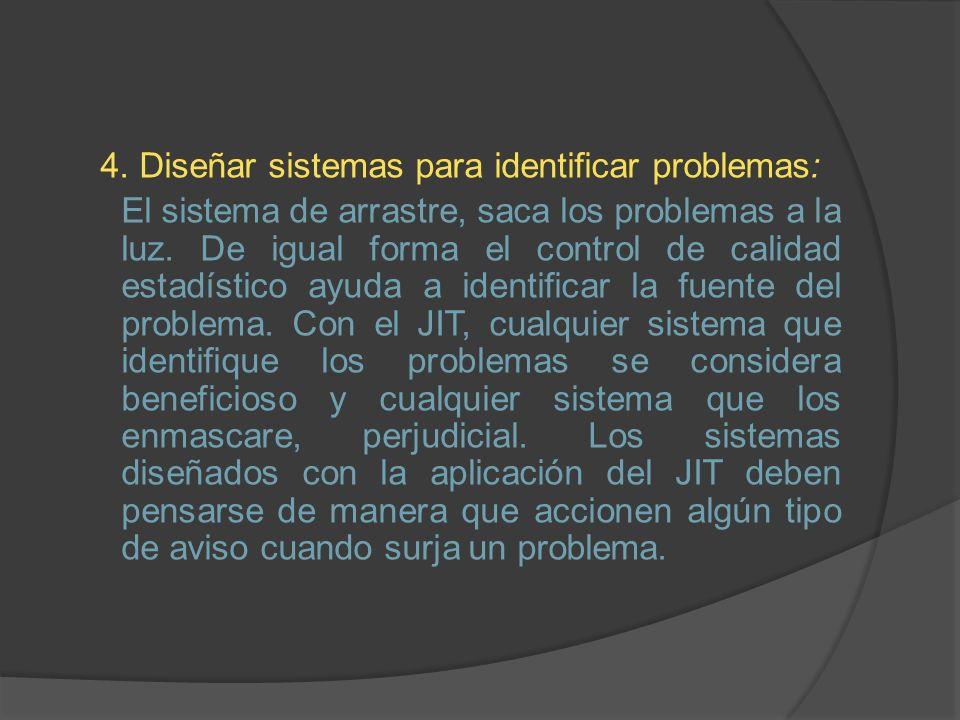 4. Diseñar sistemas para identificar problemas: El sistema de arrastre, saca los problemas a la luz. De igual forma el control de calidad estadístico