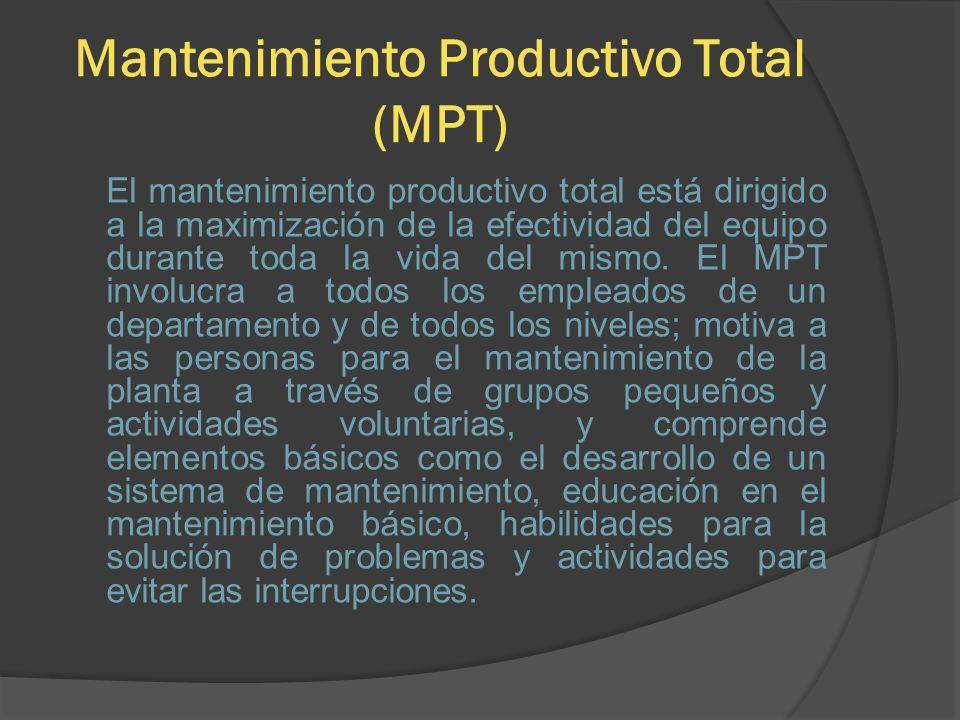 Mantenimiento Productivo Total (MPT) El mantenimiento productivo total está dirigido a la maximización de la efectividad del equipo durante toda la vi