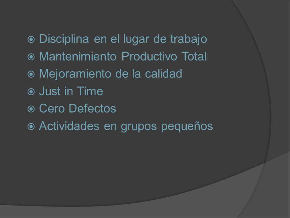 Disciplina en el lugar de trabajo Mantenimiento Productivo Total Mejoramiento de la calidad Just in Time Cero Defectos Actividades en grupos pequeños