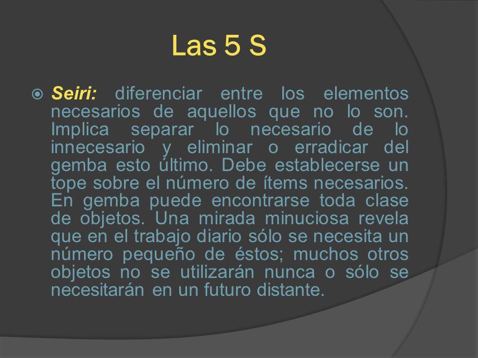 Las 5 S Seiri: diferenciar entre los elementos necesarios de aquellos que no lo son. Implica separar lo necesario de lo innecesario y eliminar o errad