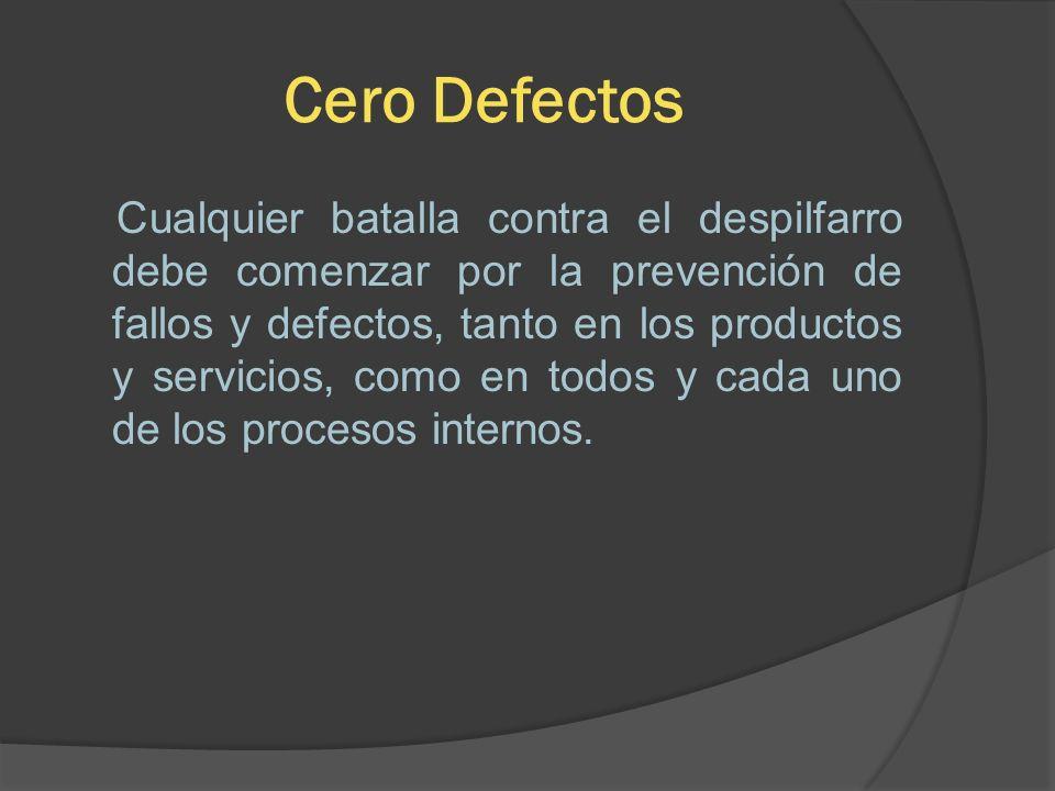 Cero Defectos Cualquier batalla contra el despilfarro debe comenzar por la prevención de fallos y defectos, tanto en los productos y servicios, como e
