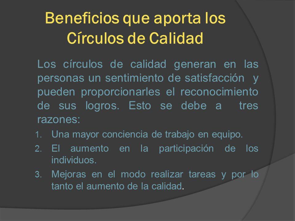 Beneficios que aporta los Círculos de Calidad Los círculos de calidad generan en las personas un sentimiento de satisfacción y pueden proporcionarles