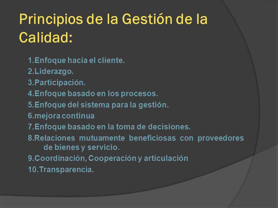 Principios de la Gestión de la Calidad: 1.Enfoque hacia el cliente. 2.Liderazgo. 3.Participación. 4.Enfoque basado en los procesos. 5.Enfoque del sist