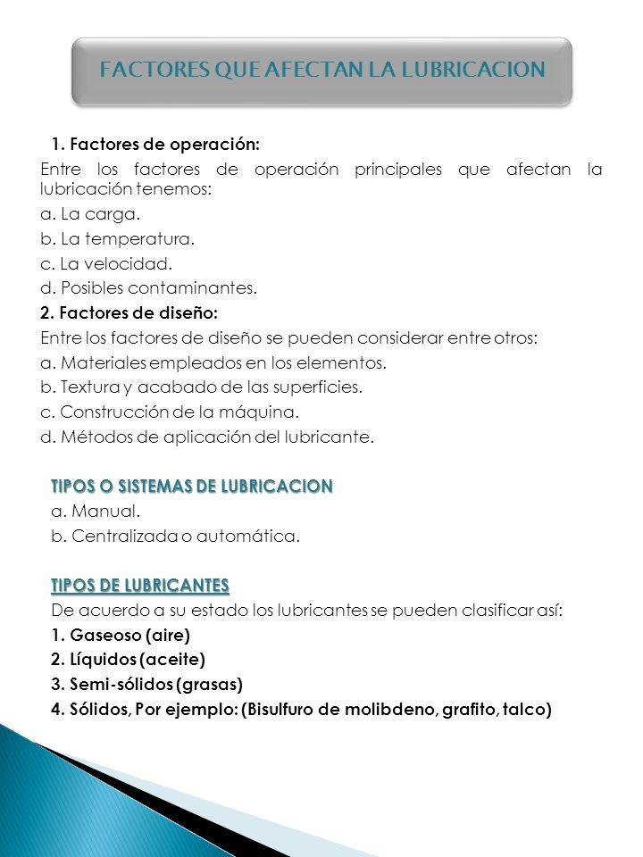 1. Factores de operación: Entre los factores de operación principales que afectan la lubricación tenemos: a. La carga. b. La temperatura. c. La veloci