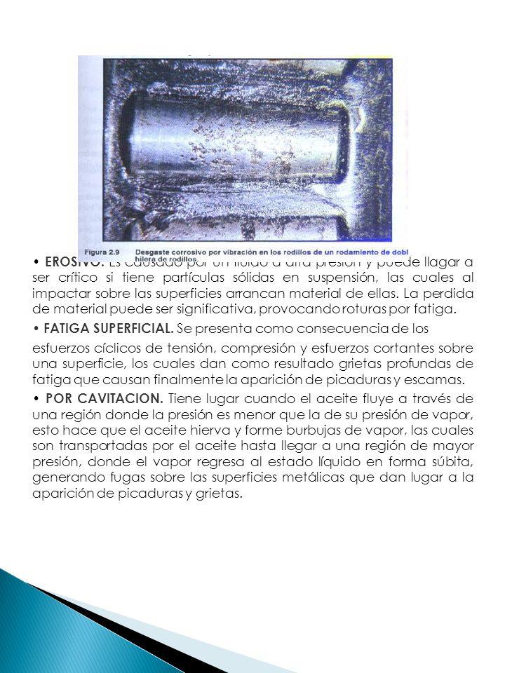EROSIVO. Es causado por un fluido a alta presión y puede llagar a ser crítico si tiene partículas sólidas en suspensión, las cuales al impactar sobre