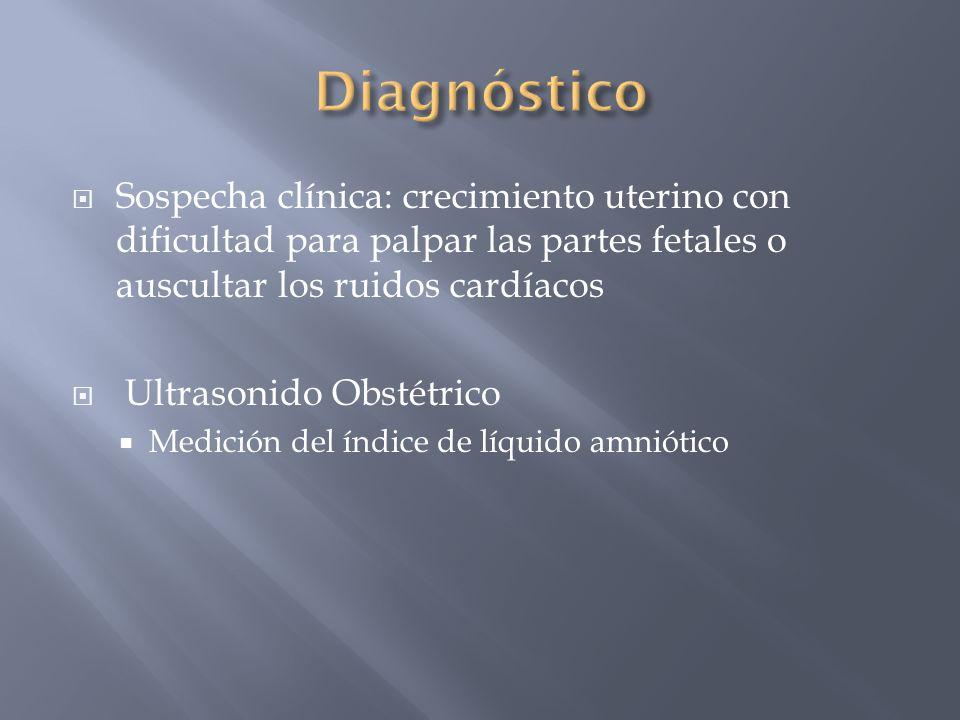 Sospecha clínica: crecimiento uterino con dificultad para palpar las partes fetales o auscultar los ruidos cardíacos Ultrasonido Obstétrico Medición d