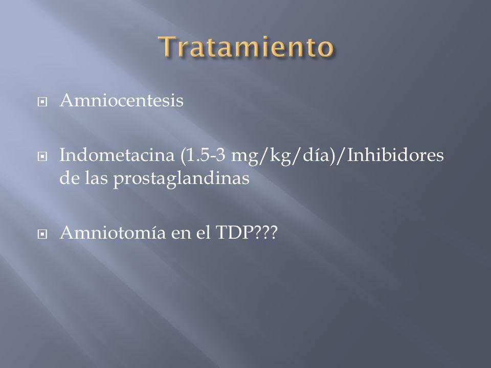 Amniocentesis Indometacina (1.5-3 mg/kg/día)/Inhibidores de las prostaglandinas Amniotomía en el TDP???