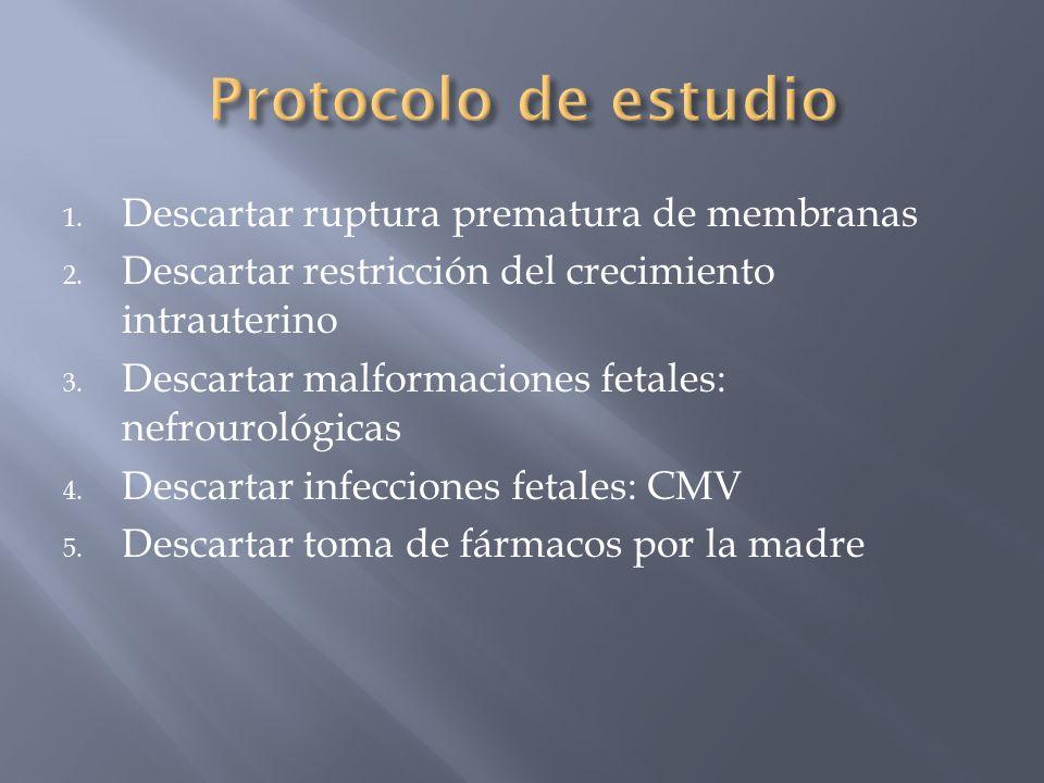 1. Descartar ruptura prematura de membranas 2. Descartar restricción del crecimiento intrauterino 3. Descartar malformaciones fetales: nefrourológicas