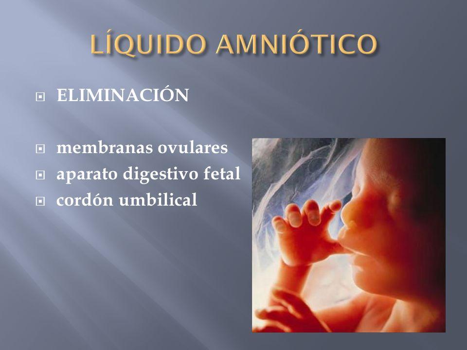 ELIMINACIÓN membranas ovulares aparato digestivo fetal cordón umbilical