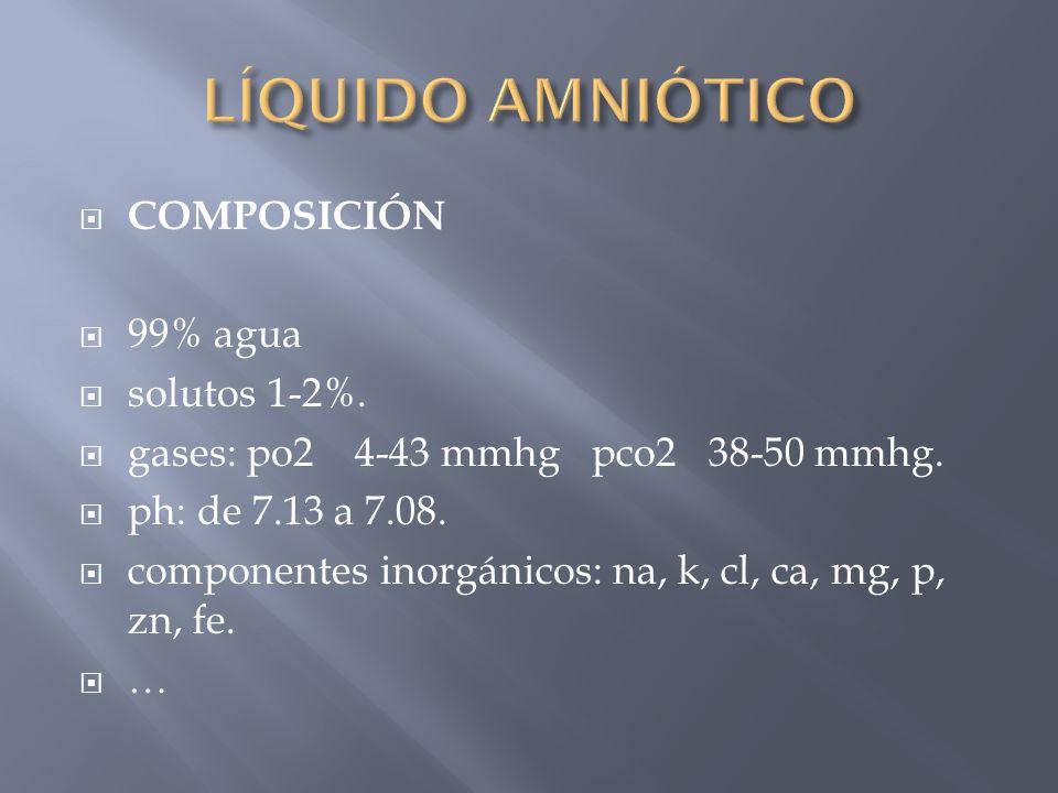 COMPOSICIÓN 99% agua solutos 1-2%. gases: po2 4-43 mmhg pco2 38-50 mmhg. ph: de 7.13 a 7.08. componentes inorgánicos: na, k, cl, ca, mg, p, zn, fe. …