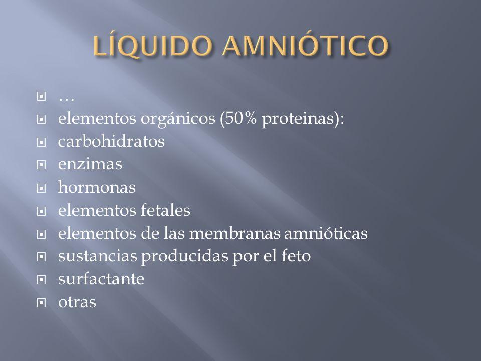 elementos orgánicos (50% proteinas): carbohidratos enzimas hormonas elementos fetales elementos de las membranas amnióticas sustancias producidas por