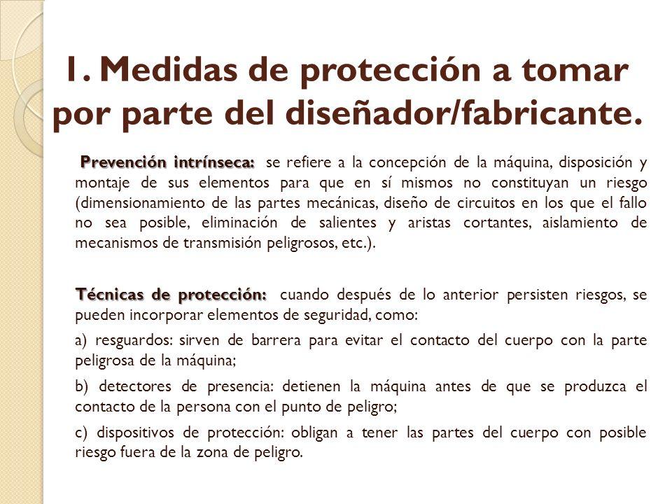 1.Medidas de protección a tomar por parte del diseñador/fabricante.