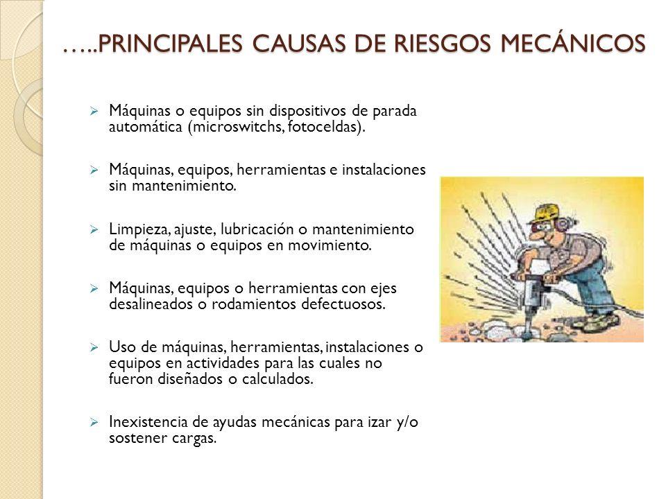 …..PRINCIPALES CAUSAS DE RIESGOS MECÁNICOS Máquinas o equipos sin dispositivos de parada automática (microswitchs, fotoceldas).