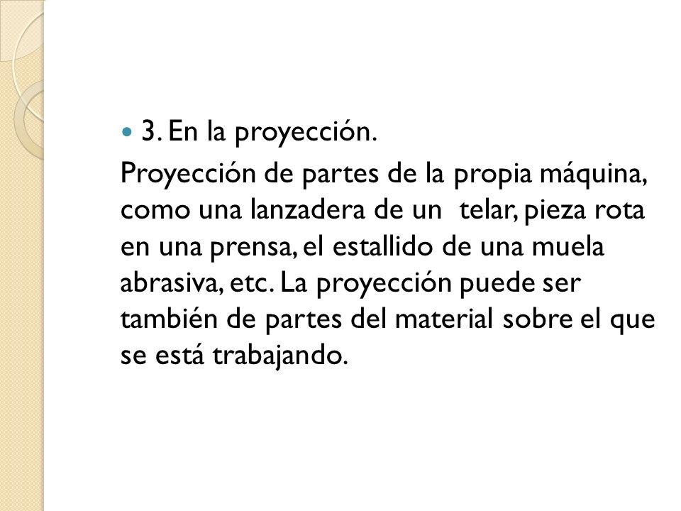 3.En la proyección.