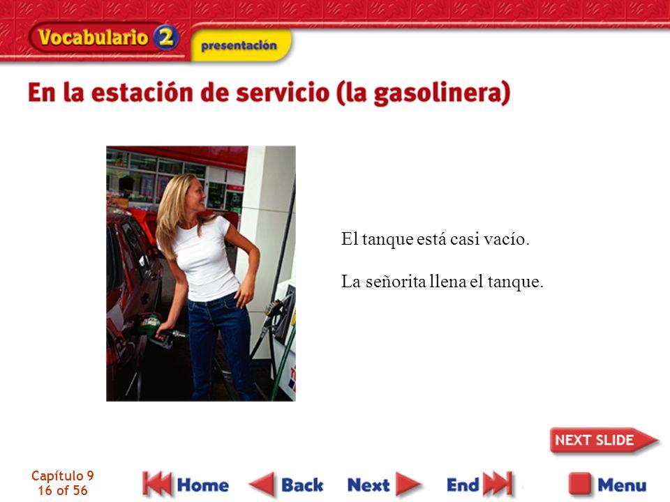 Capítulo 9 16 of 56 El tanque está casi vacío. La señorita llena el tanque.