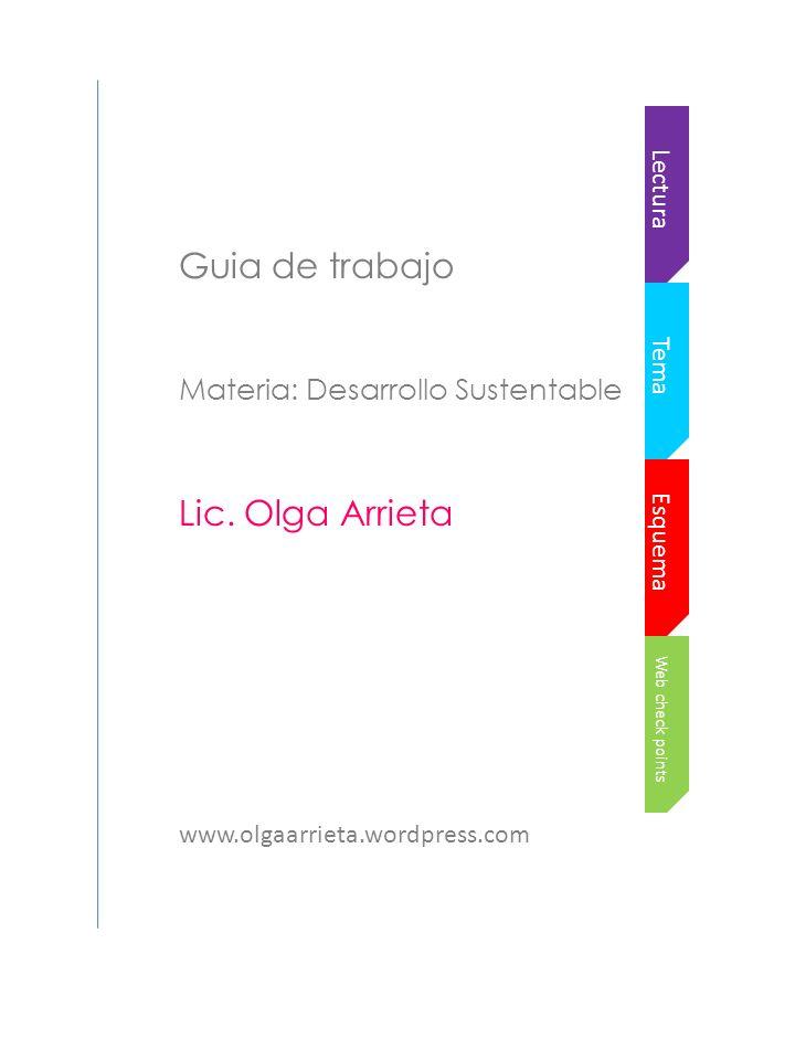Web check points Esquema Tema Lectura Guia de trabajo Materia: Desarrollo Sustentable Lic.