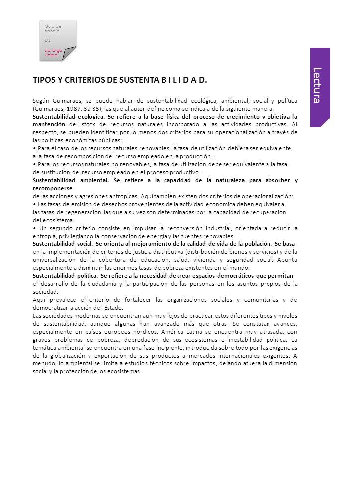 Lectura TIPOS Y CRITERIOS DE SUSTENTA B I L I D A D.