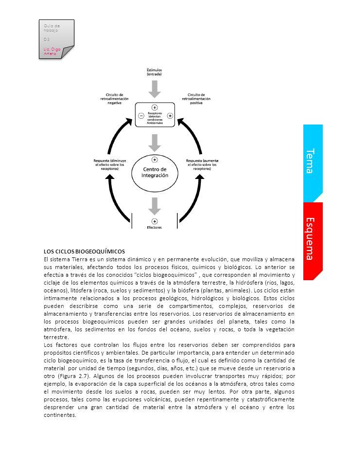 Esquema Tema LOS CICLOS BIOGEOQUÍMICOS El sistema Tierra es un sistema dinámico y en permanente evolución, que moviliza y almacena sus materiales, afectando todos los procesos físicos, químicos y biológicos.