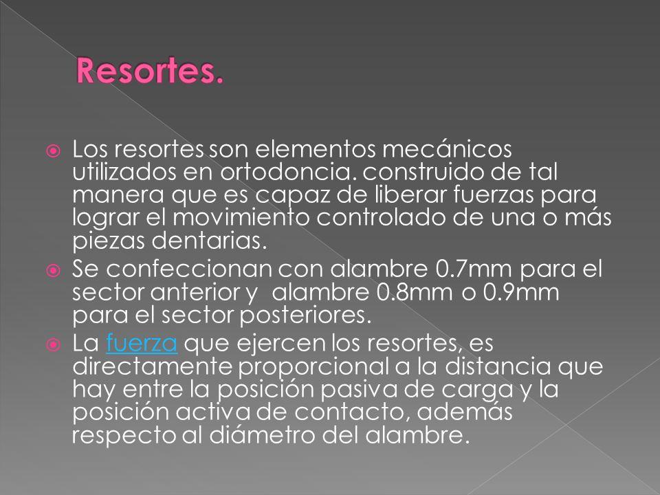 Los resortes son elementos mecánicos utilizados en ortodoncia. construido de tal manera que es capaz de liberar fuerzas para lograr el movimiento cont