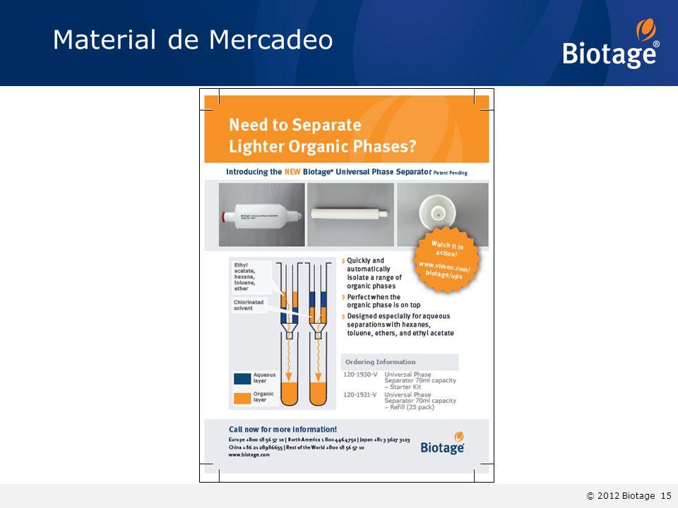 © 2012 Biotage 15 Material de Mercadeo