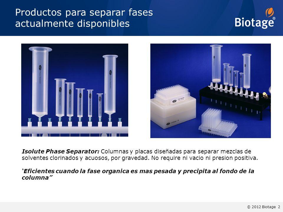 © 2012 Biotage 2 Productos para separar fases actualmente disponibles Isolute Phase Separator: Columnas y placas diseñadas para separar mezclas de sol