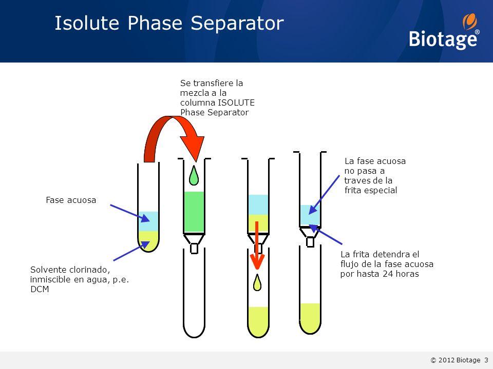 © 2012 Biotage 3 Isolute Phase Separator Se transfiere la mezcla a la columna ISOLUTE Phase Separator Fase acuosa Solvente clorinado, inmiscible en ag