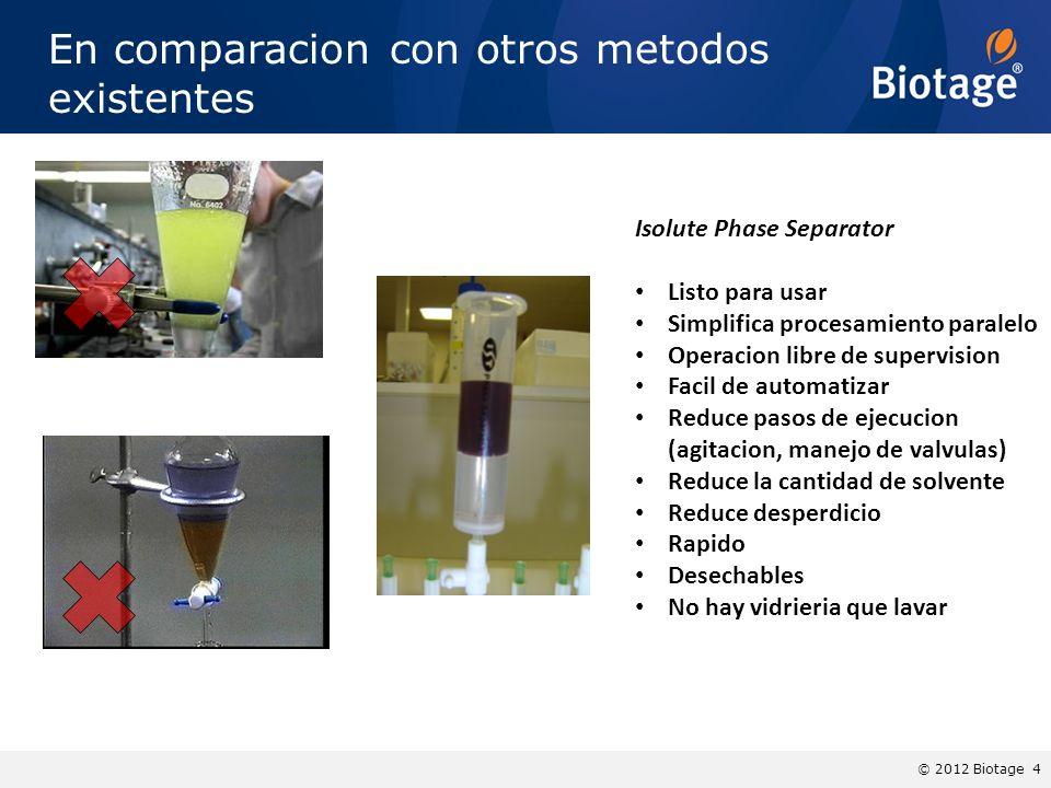 © 2012 Biotage 4 En comparacion con otros metodos existentes Isolute Phase Separator Listo para usar Simplifica procesamiento paralelo Operacion libre